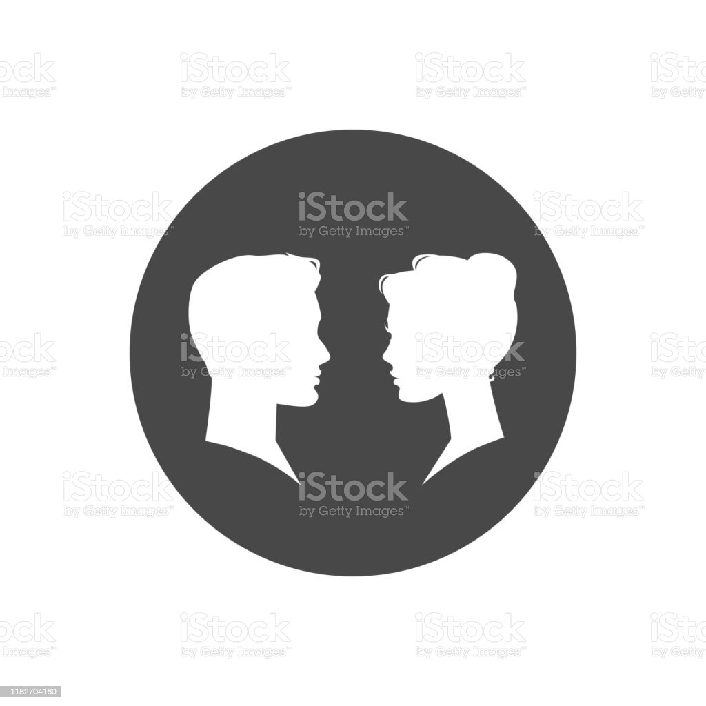 Man And Woman Silhouette Face To Face Vector Illustration Stock Illustration Download Image Now Istock