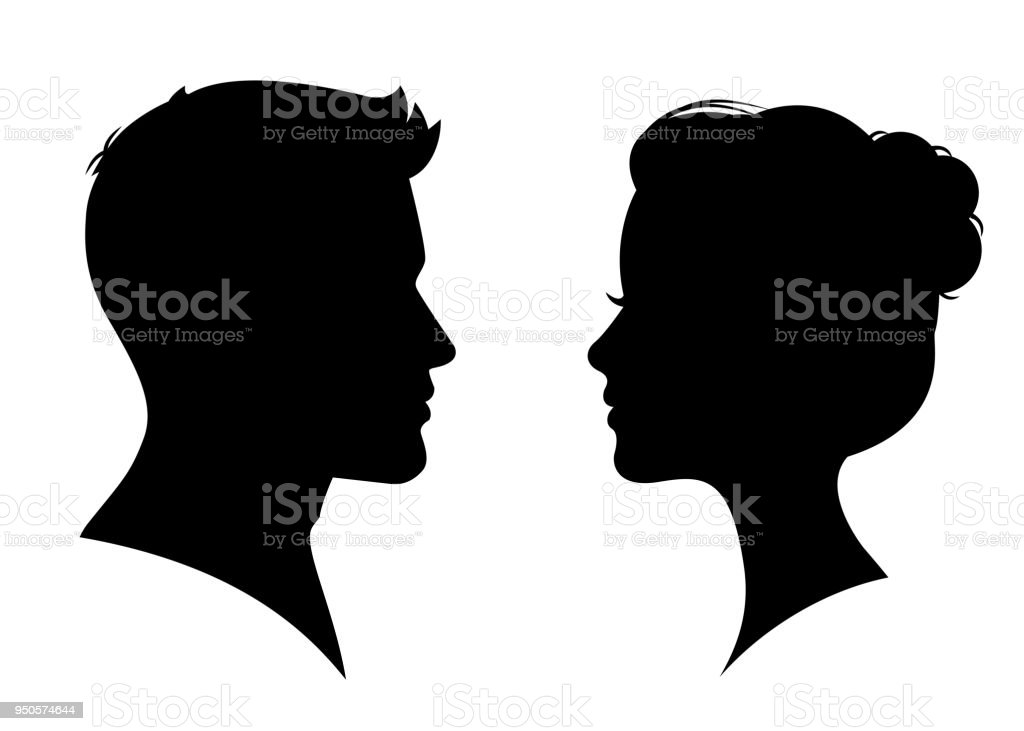 Man and woman silhouette face to face – vector royalty-free man and woman silhouette face to face vector stock illustration - download image now