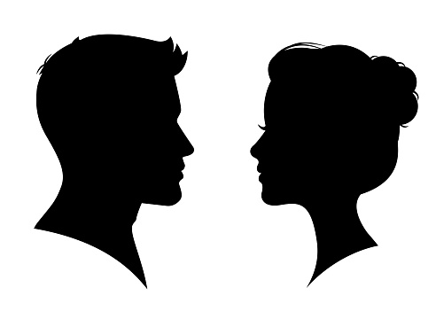 Man And Woman Silhouette Face To Face Vector Stock Illustration - Download Image Now