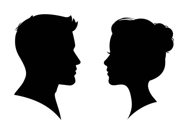 man and woman silhouette face to face – vector - female faces stock illustrations, clip art, cartoons, & icons