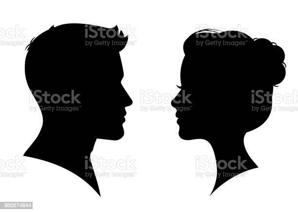 Mann Und Frau Silhouette Von Angesicht Zu Angesicht Vektor Stock Vektor Art und mehr Bilder von Abzeichen