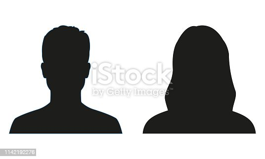 Man and woman silhouette. People avatar profile or icon. Vector illustration.