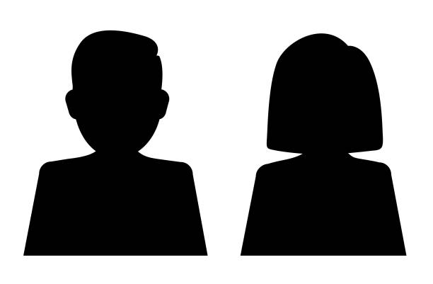 man and woman silhouette - old man computer silhouette stock illustrations, clip art, cartoons, & icons