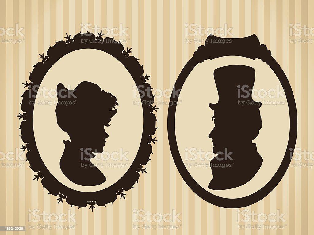 Mann und Frau Silhouetten in frames – Vektorgrafik