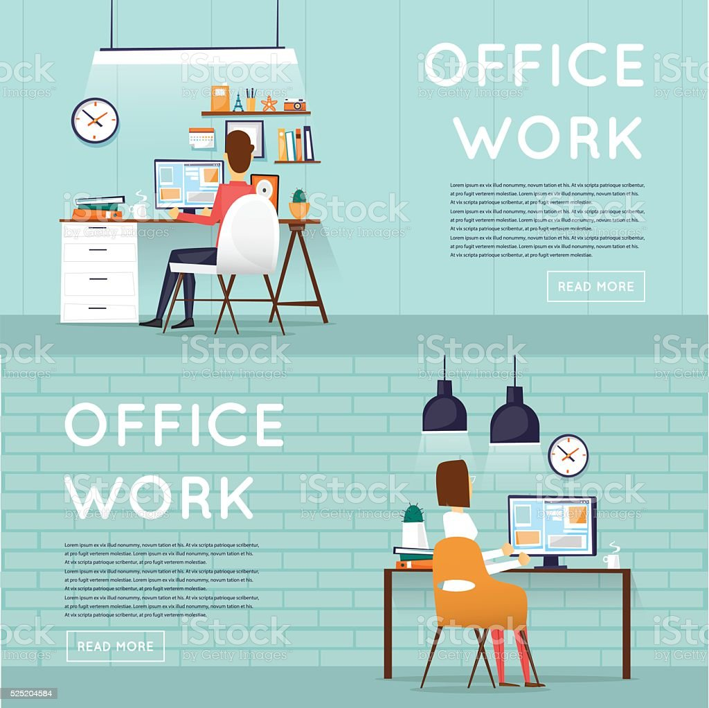Man and woman sitting and working on the computer vector art illustration