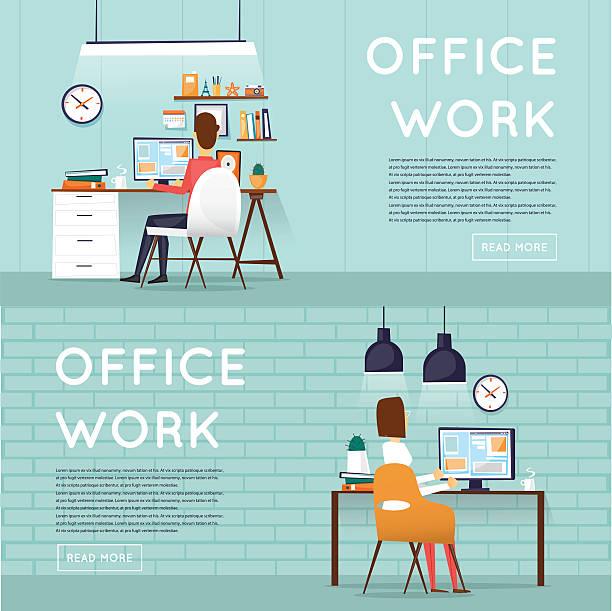 Mann und Frau sitzt und Arbeiten mit dem computer – Vektorgrafik