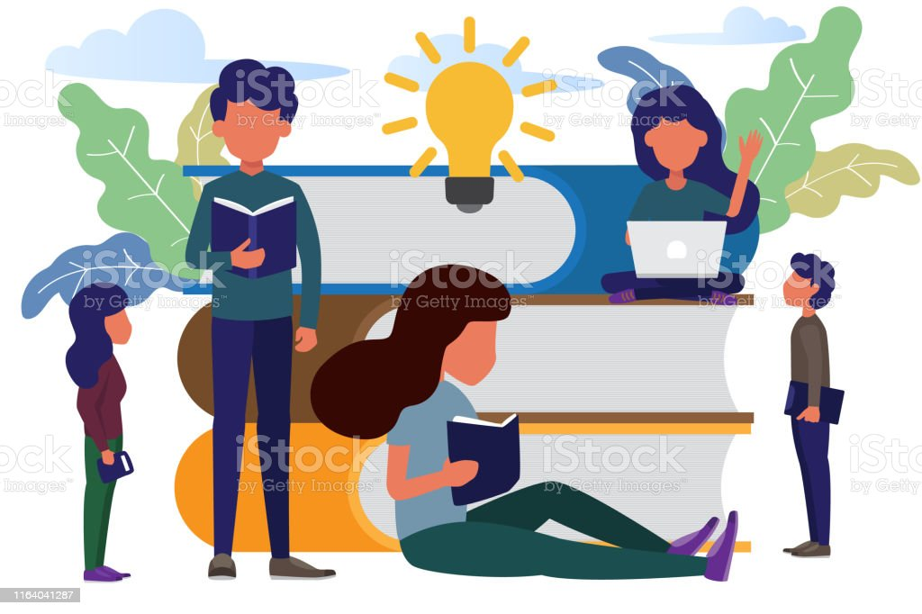 man and woman sitting front big books reading and knowledge. modern...