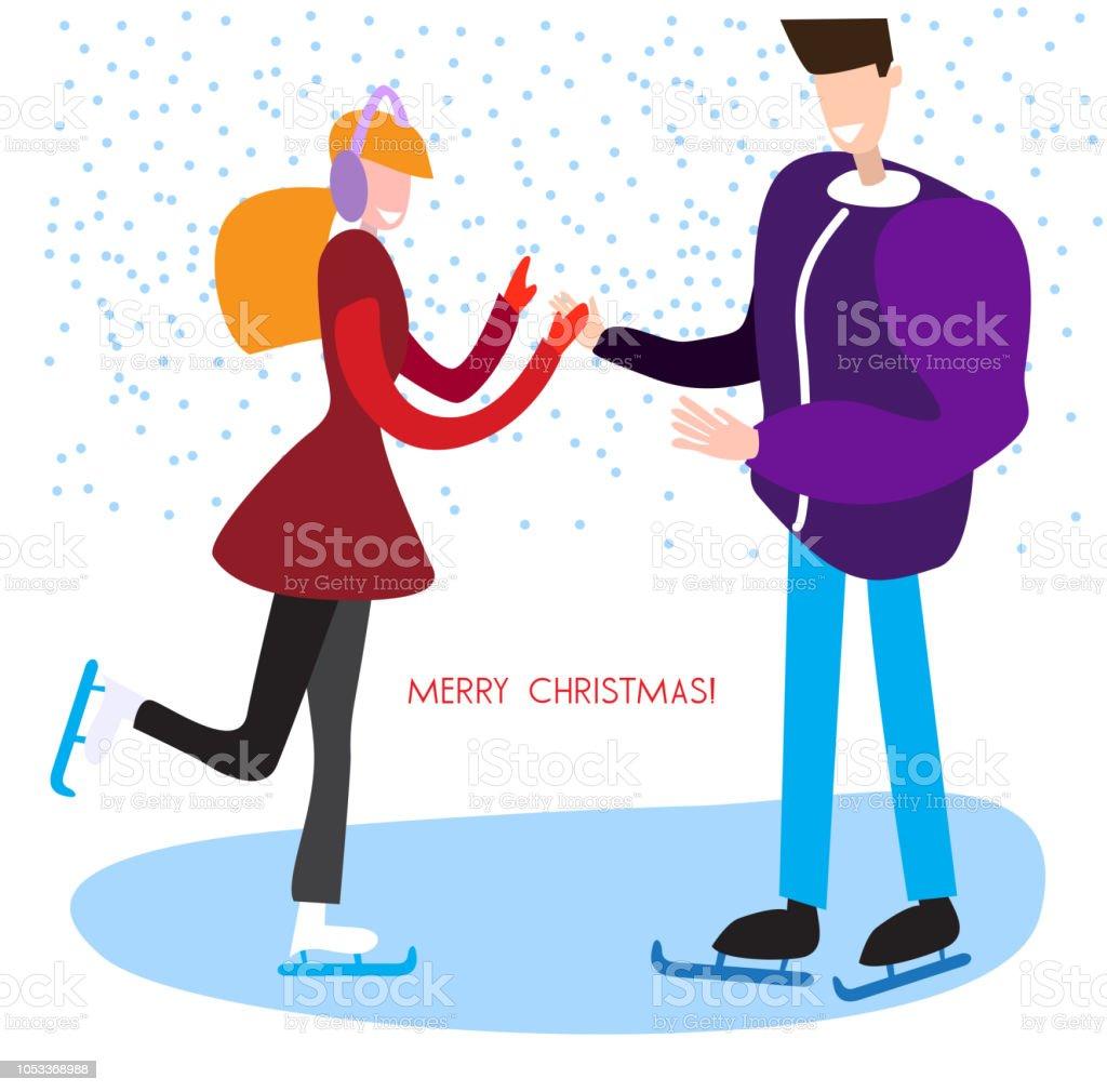 Man And Woman Skating Christmas Vector Background Stock