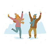 man and woman skiers at apres-ski party dancing celebrating cartoon isolated vector illustration scene
