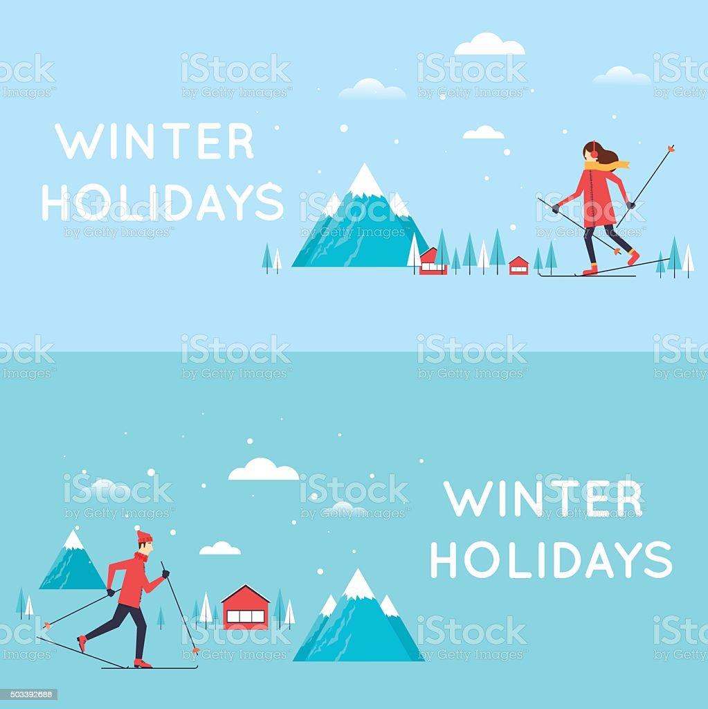 男性と女性のスキー場 アルペンスキーのベクターアート素材や画像を