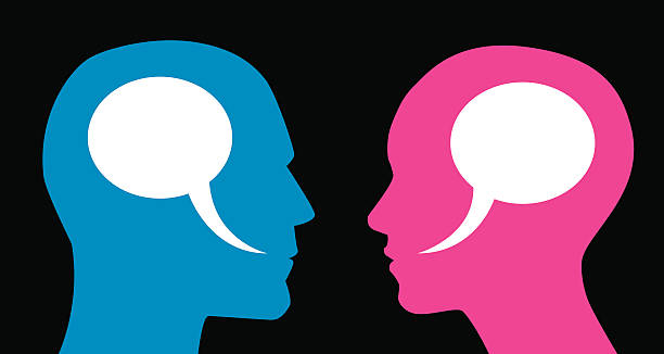 man and woman speech bubbles - two people talking stock illustrations, clip art, cartoons, & icons