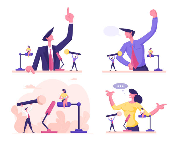 ilustrações de stock, clip art, desenhos animados e ícones de man and woman stand behind of podium with microphone speaking with index finger pointing up. candidate speech, lecture political discussion or presidential election. cartoon flat vector illustration - democracy illustration