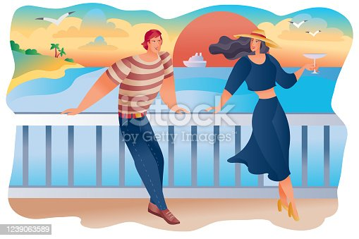 man and woman stand on the embankment against the backdrop of the setting red sun, the ship and the seagulls, they have a date or the first meeting, the woman has a glass of wine in her hands, vector illustration
