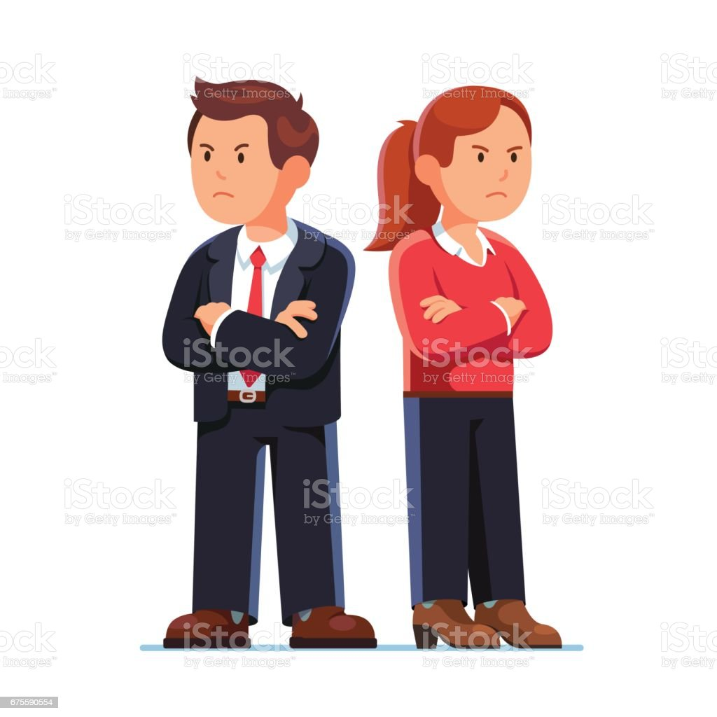 Man and woman standing back to back after argument - ilustración de arte vectorial
