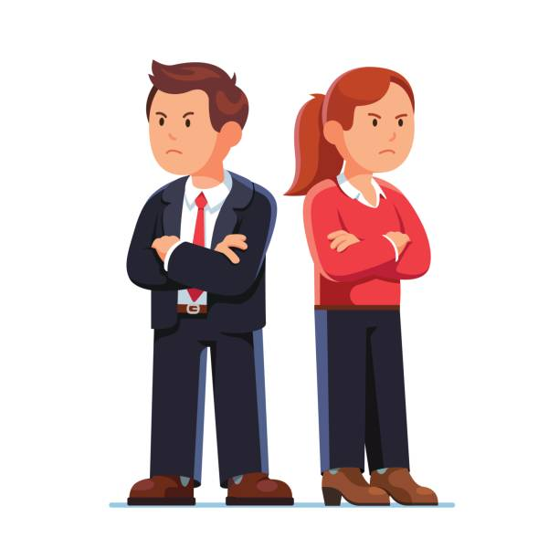 man and woman standing back to back after argument - отвести взгляд stock illustrations
