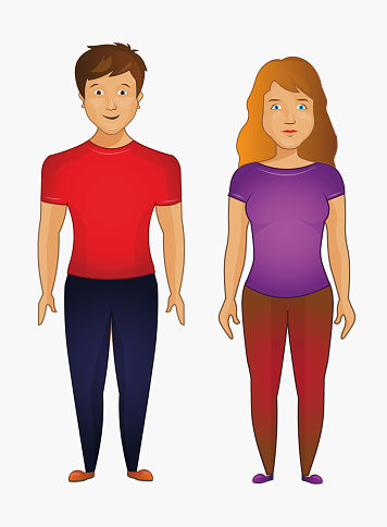 Man and woman standing. Cartoon style people avatar flat vector character design illustration set isolated on white background.