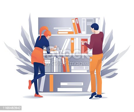 Young Man and Woman Standing near Bookshelves Cartoon. Flat Girl and Boy Looking for Information, Searching Educational Literature. Bookstore or Library. Book Festival. Vector Illustration