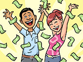 Money raining down on a happy man and woman. Vector illustration. Concept for luck, wealth, richness and financial success.