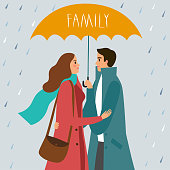 Man and woman standing with umbrella under the rain. Family title. Love and family illustration for your design.