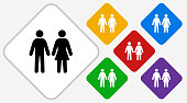 Man And Woman Standing.. The icon is black and is placed on a diamond vector button. The button is flat white color and the background is light. The composition is simple and elegant. The vector icon is the most prominent part if this illustration. There are five alternate button variations on the right side of the image. The alternate colors are red, yellow, green, purple and blue.