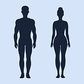 Man and woman standing vector silhouettes
