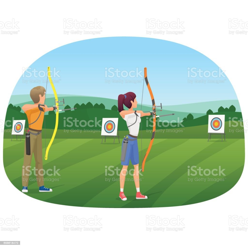 Man and woman standing with bows and aiming to the target vector illustration vector art illustration