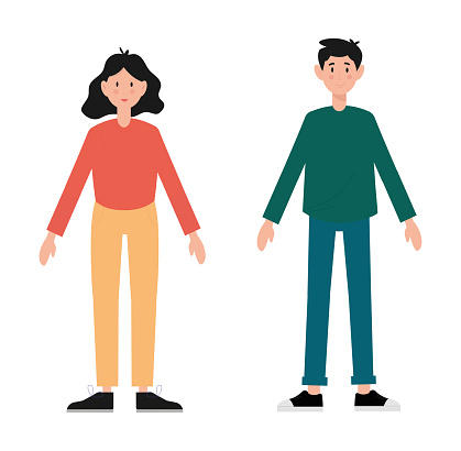 Man and woman standing with outstretched arms. Cartoon style people avatar flat vector character design illustration set isolated on white background