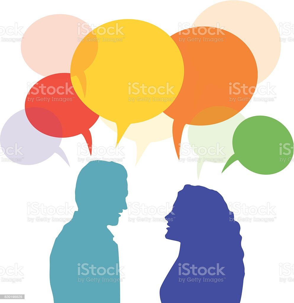 Man and woman talking and speech bubble vector art illustration