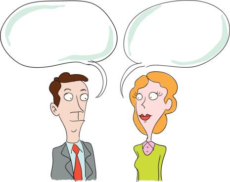 Mann Und Frau Reden Stock Vektor Art und mehr Bilder von