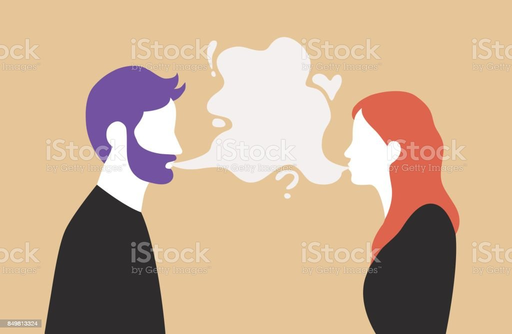 Man and woman talking with speech bubble in the middle - couple communication vector illustration vector art illustration