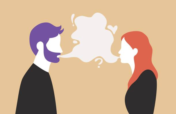 man and woman talking with speech bubble in the middle - couple communication vector illustration - couple stock illustrations