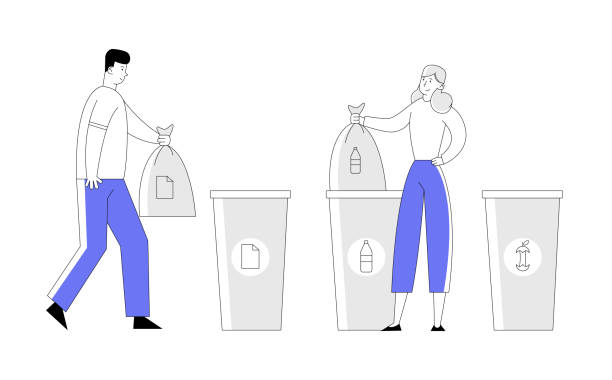Man and Woman Throw Trash into Recycling Containers and Bags. People Recycle Garbage, Environmental Pollution Problem, Ecology Protection, Reduce Plastic Cartoon Flat Vector Illustration, Line Art Man and Woman Throw Trash into Recycling Containers and Bags. People Recycle Garbage, Environmental Pollution Problem, Ecology Protection, Reduce Plastic Cartoon Flat Vector Illustration, Line Art plastic pollution stock illustrations