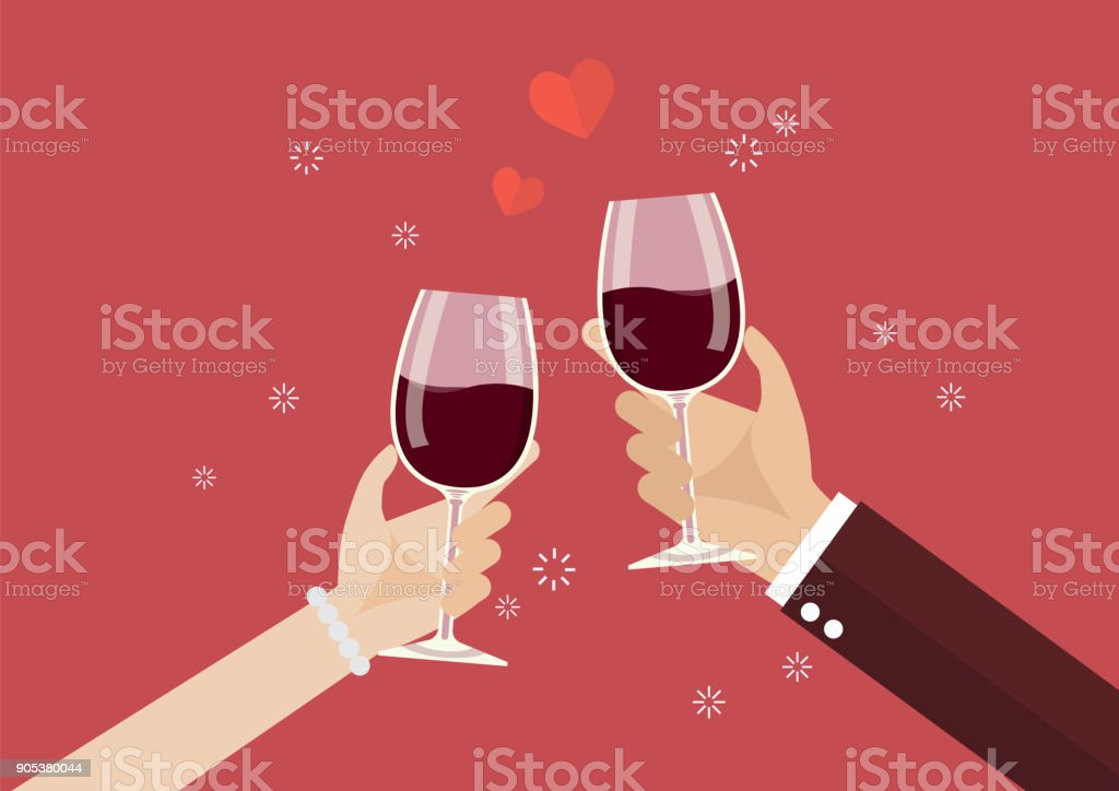 Man and woman toasting a wine glasses vector art illustration