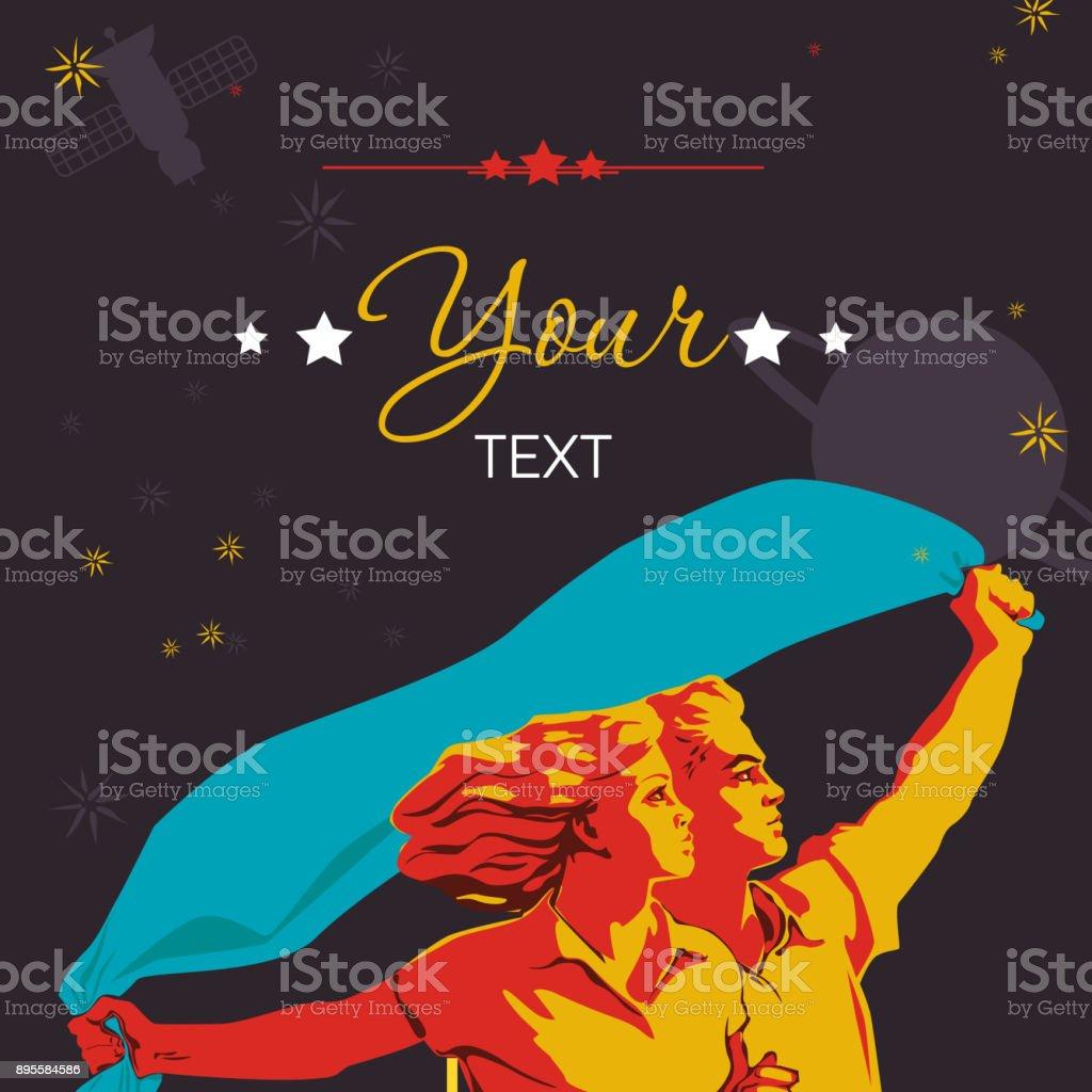 Mann und Frau zusammen halten ein blaues Taschentuch über die Köpfe hinweg weiterentwickelt. – Vektorgrafik