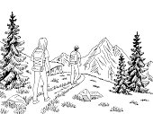 Man and woman tourist walking at the mountains graphic black white landscape sketch illustration vector