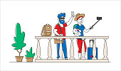 Young Man and Woman Tourists Couple with Mobile Phone Make Photo Picture on Hostel Balcony. Characters with Cellphone Make Selfie Enjoy Relationship at Trip, Journey. Linear People Vector Illustration