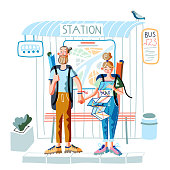 Man and woman travelers with backpacks standing on bus station. Young happy hipster couple. Girl looking at paper map. Trip or tour for people. Trekking, hiking. Active lifestyle. Vector illustration