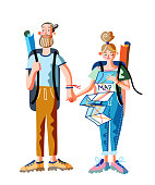 Man and woman travelers with backpacks standing. Young happy hipster couple. Girl looking at paper map. Trip or tour for people. Trekking, hiking. Active lifestyle. Vector illustration