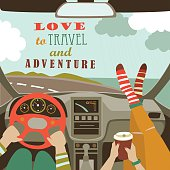 Man and woman traveling by car. Flat design vector illustration.