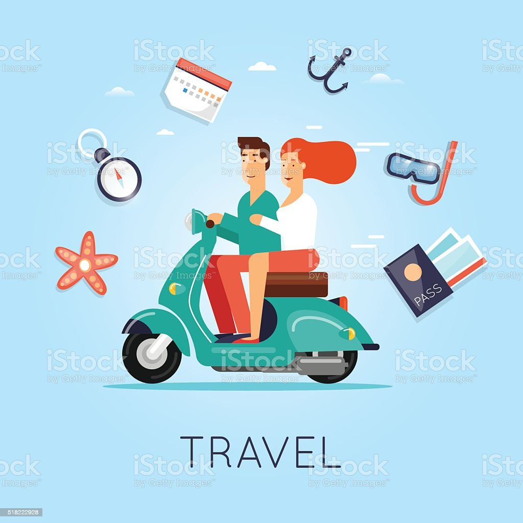 Man and woman traveling on a moped. Summer, World Travel. vector art illustration