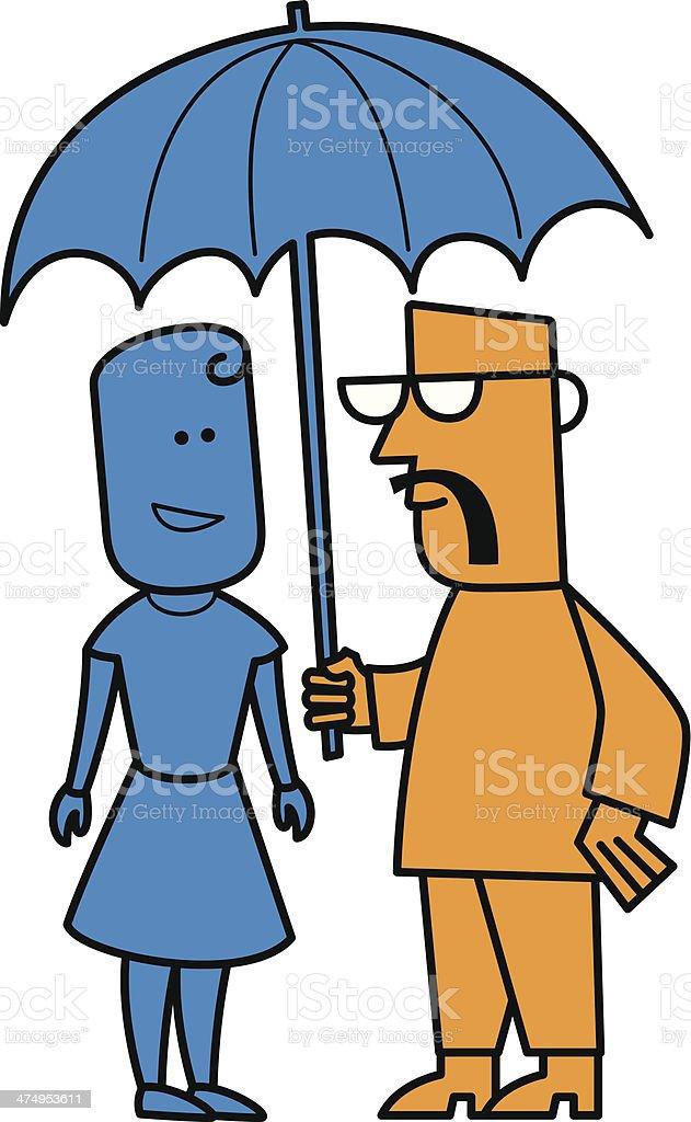 Man and woman under umbrella royalty-free stock vector art