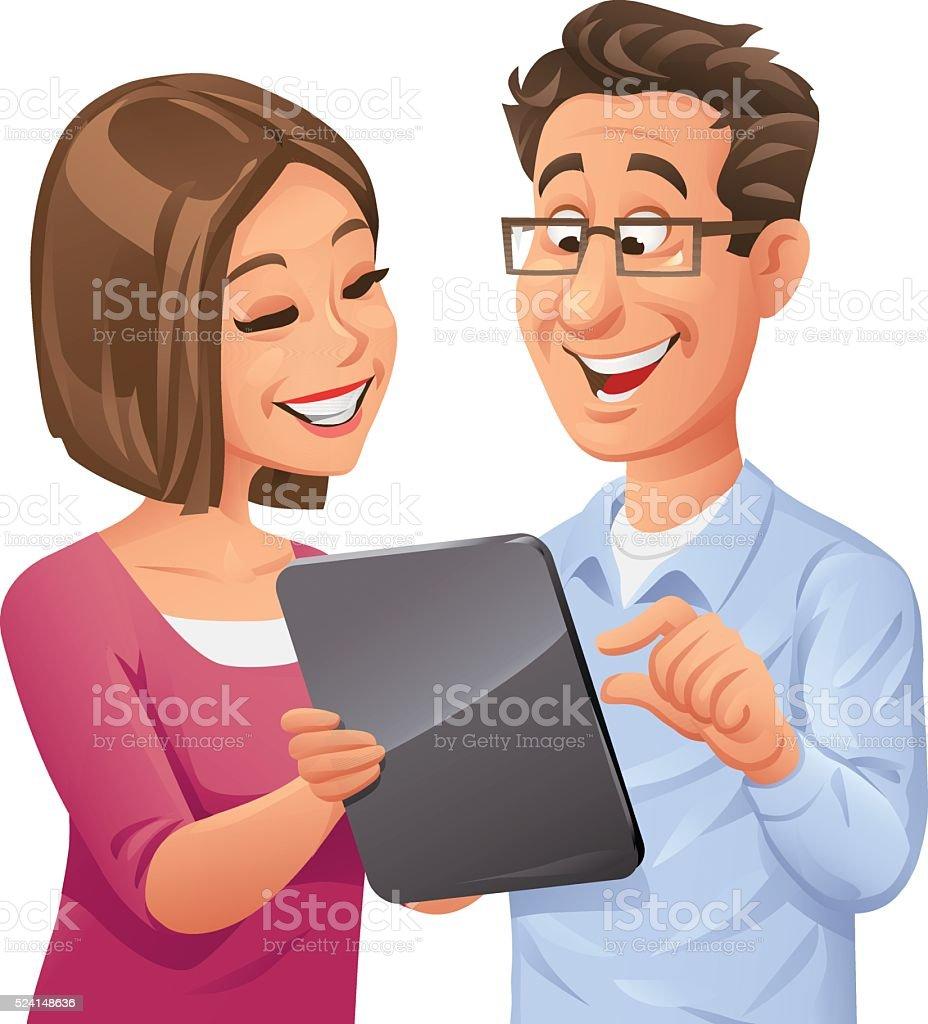 Man And Woman Using Digital Tablet vector art illustration