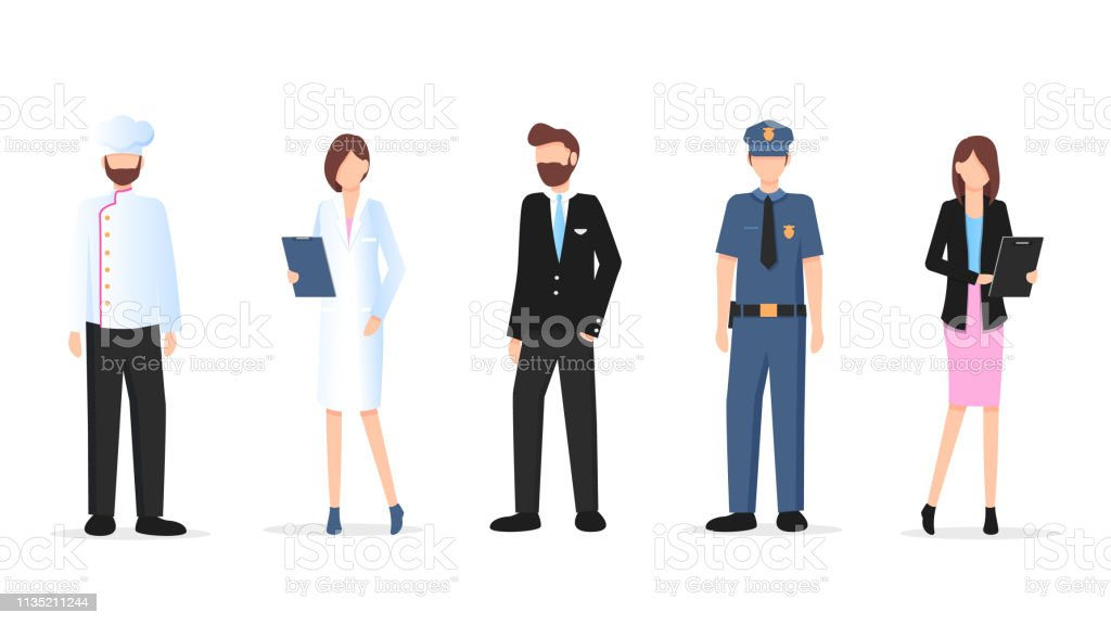 Man and Woman Various Occupation Character Set. Labor Day. Group of...