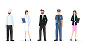 Man and Woman Various Occupation Character Set. Labor Day. Group of People Different Profession Stand. Chef, Manager, Businessman, Policeman, Office Worker. Flat Cartoon Vector Illustration