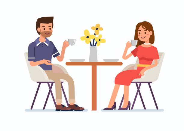 man and woman Man and woman sitting together in restaurant and drink coffee. Flat  cartoon style vector illustration isolated on white background. girlfriend stock illustrations