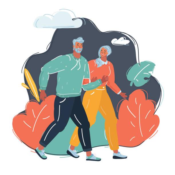 bildbanksillustrationer, clip art samt tecknat material och ikoner med man och kvinna går längs - aktiva pensionärer utflykt