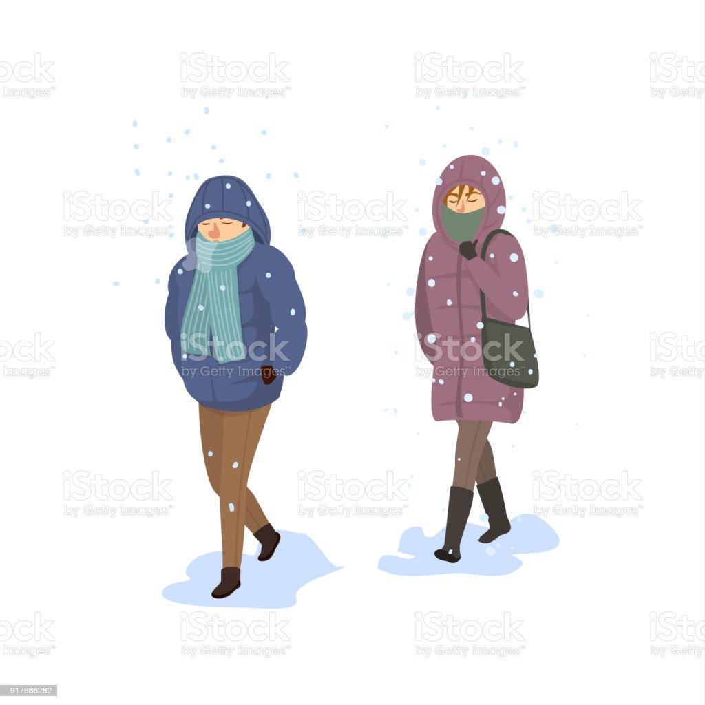 Ilustración de Hombre Y La Mujer Caminando Bajo La Nieve Fuerte ...