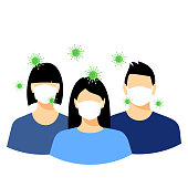 Man and woman with a surgical mask is among bacteria, influenza, flu, infectious disease. Epidemic, flu protection, avoiding virus. Girl wearing medical face mask.