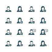 Man and woman web avatars icon set