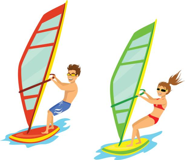 Man And Woman Windsurfing Isolated Vector Art Illustration